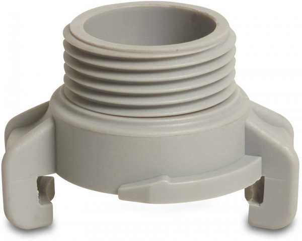 Plastic quick coupler with male thread